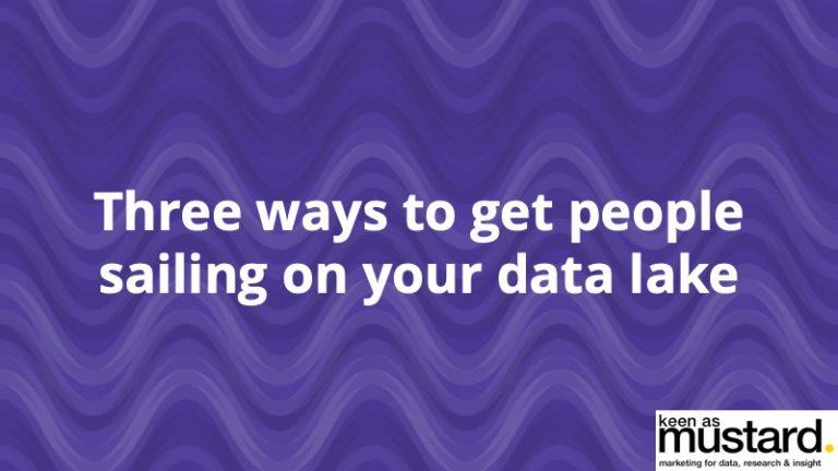3 ways to get people sailing on your data lake - Insight Platforms