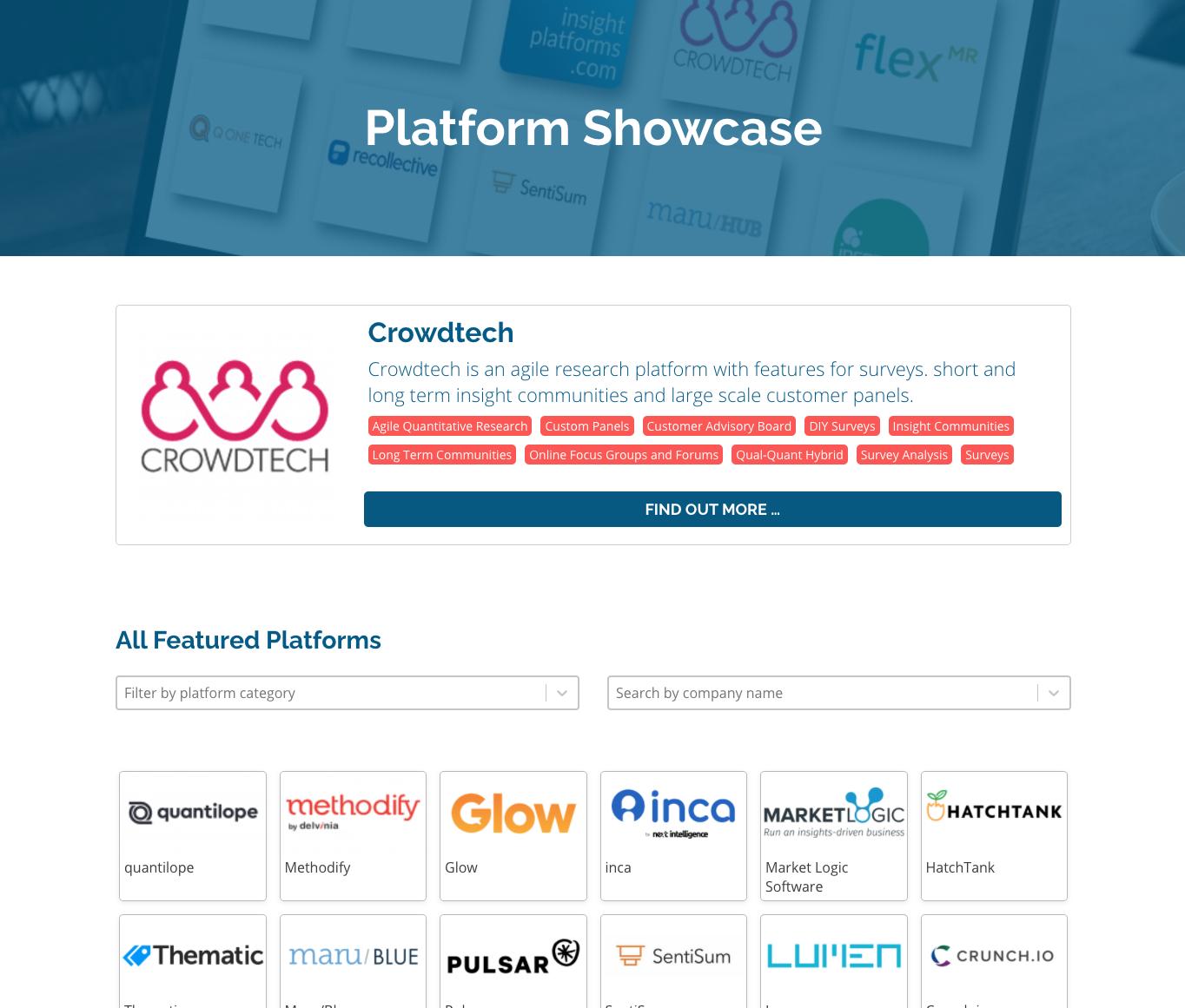 Platforms Showcase - Insight Platforms